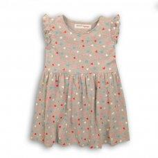 2KDRESS13P: Girls Grey Ao Hearts Jersey Dress (8-13 Years)