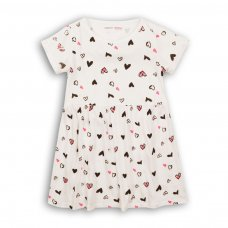 2KDRESS26: Girls White Hearts Dress With Turn Up (3-8 Years)