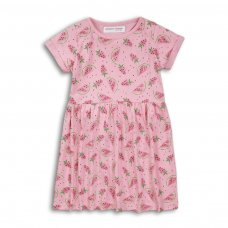 2KDRESS28: Girls Strawberries Dress With Turn Up (3-8 Years)