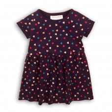 2KDRESS29P: Girls Navy Hearts Dress With Turn Up (8-13 Years)