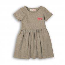 2KDRESS31: Girls Grey Love Dress With Turn Up (3-8 Years)
