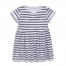 2KDRESS32: Girls Stripes Dress With Turn Up (3-8 Years)