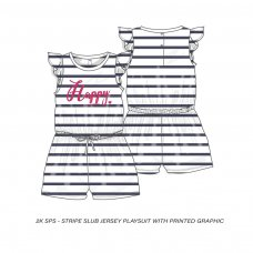 2KSPS13P: Girls Happy Stripe Playsuit (8-13 Years)