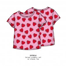 2KTEE14: Girls Aop Hearts Graphic Tshirt (3-8 Years)