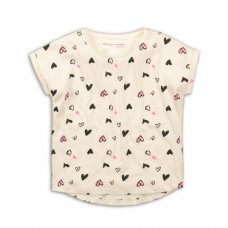 2KTEE19: Girls Aop Hearts Graphic Tshirt (3-8 Years)