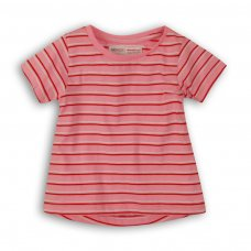 2SLUBT14PP: Girls Bright Pink Stripe Jersey Tshirt (8-13 Years)
