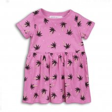 2TDRESS17: Girls Palm Trees Dress With Turn Up (9 Months-3 Years)
