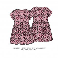 2TDRESS19: Girls Leopard Print Dress With Turn Up (9 Months-3 Years)