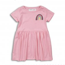 2TDRESS20: Girls Pink Rainbow Dress With Turn Up (9 Months-3 Years)