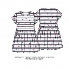 2TDRESS21: Girls Stripe Cherries Dress With Turn Up (9 Months-3 Years)