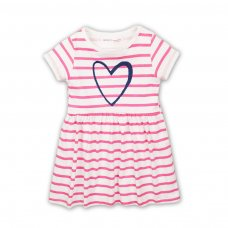 2TDRESS23: Girls Stripe Heart Dress With Turn Up (9 Months-3 Years)