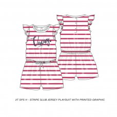 2TSPS11: Girls Vacay Stripe Playsuit (9 Months-3 Years)