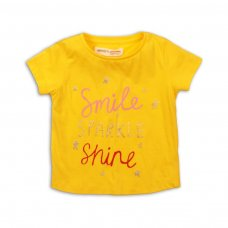 2TTEE03: Girls Smile Sparkle Graphic Tshirt (9 Months-3 Years)