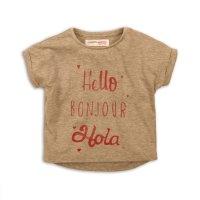 2TTEE06K: Girls Hello Bonjour Graphic Tshirt (9 Months-3 Years)