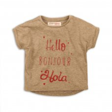 2TTEE06: Girls Hello Bonjour Graphic Tshirt (9 Months-3 Years)