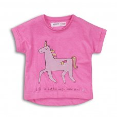 2TTEE08: Girls Unicorn Graphic Tshirt (9 Months-3 Years)