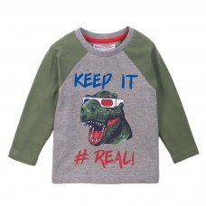 3TODRTEE 11K: Grey Marl Keep It Real Raglan Tee (9 Months-3 Years)