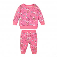 4JSUIT 1K: Pink Aop Fleece Jogsuit (9 Months-3 Years)