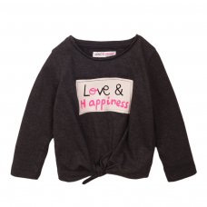 4TODTEE 17K: Charcoal Marl Love & Happiness Long Sleeve Top (9 Months-3 Years)