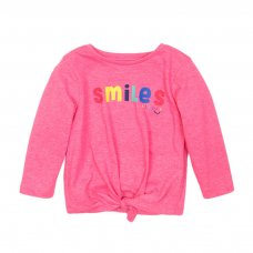 4TODTEE 19K: Bright Pink Smiles Long Sleeve Top (9 Months-3 Years)