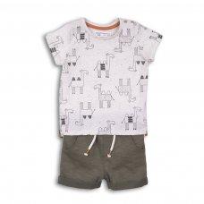 Camel 4: 2 Piece Aop Speckled Tshirt & Fleece Short Set (0-12 Months)
