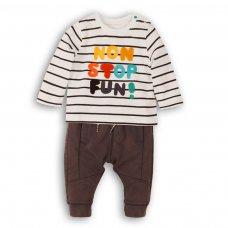 Leaf 4P: 2 Piece L/S Stripe Top & Fleece Jogpant Set (12-24 Months)