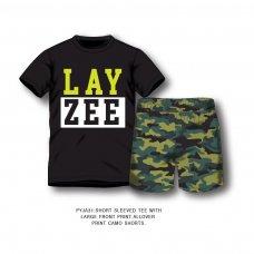 PYJA 31P: 2 Piece Layzee Top / Camo Short Pyjama Set (8-13 Years)