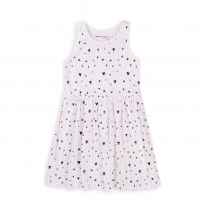6KDRESS 13T: Girls Small Hearts Sleeveless Dress (8-13 Years)