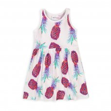 6KDRESS 16T: Girls Pineapple Aop Sleeveless Dress (8-13 Years)