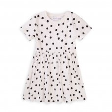 6KDRESS 7T: Girls White Black Spot Dress (8-13 Years)