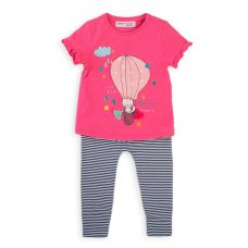 Balloon 3B: 2 Piece Slub T Shirt & Stripe Legging Set (3-12 Months)
