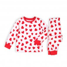 KG PYJ 12T: Girls 2Pc Hearts Pyjama Set (8-13 Years)