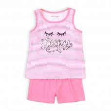 KG PYJ 19T: Girls 2Pc Sleepy Stripe Short Pyjama Set (8-13 Years)