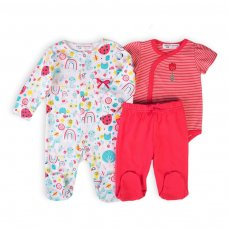 Ladybug 8: 3 Piece Sleepsuit, Bodysuit & Legging Set (0-12 Months)