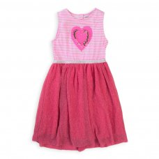 Pop 1K: Mixed Jersey & Mesh Sleeveless Dress  (1-3 Years)