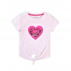 Pop 6K: Slub Top With Aop Hearts & Tie Front  (1-3 Years)