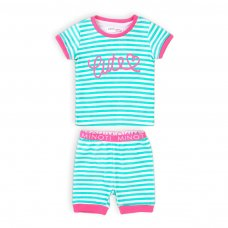 TG PYJ 8K: Girls 2Pc Cute Stripe Short Pyjama Set (1-3 Years)