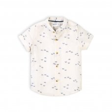 Tiger 5K: Aop Linen Grandad Collar Shirt (1-3 Years)