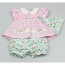 GF1021: Baby Girls Smocked 3 Piece Set  (0-9 Months)