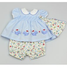 GF1024: Baby Girls Smocked 3 Piece Outfit (0-9 Months)