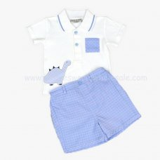 J1519: Baby Boys Dino Polo Top & Short Set (0-9 Months)