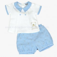 J1525: Baby Boys Teddy Polo Top & Short Set (0-9 Months)