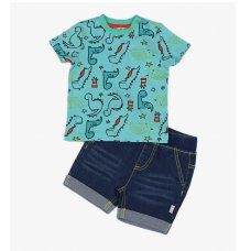 J2632: Baby Boys Dino T-Shirt & Denim Short Outfit (3-12 Months)
