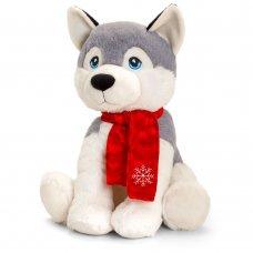 SX8157: 25cm Christmas Keeleco Husky With Scarf