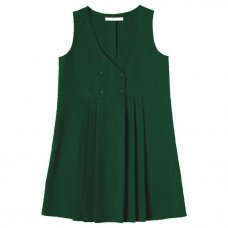 Girls School 4 Button Crossover Pinafore - Bottle Green