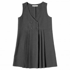 Girls School 4 Button Crossover Pinafore - Grey