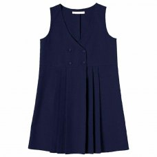 Girls School 4 Button Crossover Pinafore - Navy