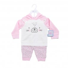BG305: Girls Pink 2 Piece Hooded Tracksuit Set (6-18 Months)