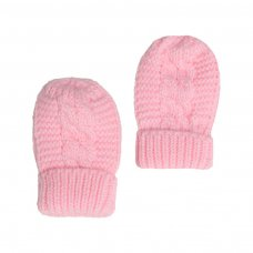 BM08-P: Pink Ribbed Mittens