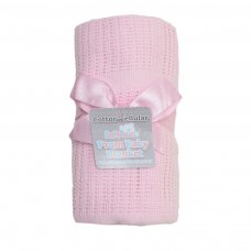CBP51-BP-P: Pink Cellular Cotton Roll Blanket